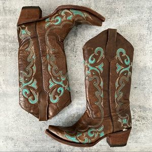 NEW Circle G Western Embroidered Boots Turquoise 8